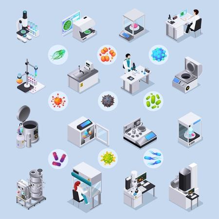 Mikrobiologie isometrischer Satz von Laborgeräten zur Durchführung wissenschaftlicher Experimente und vergrößerter Bakterien- und Virusbilder unter mikroskopisch isolierter Vektorillustration vector