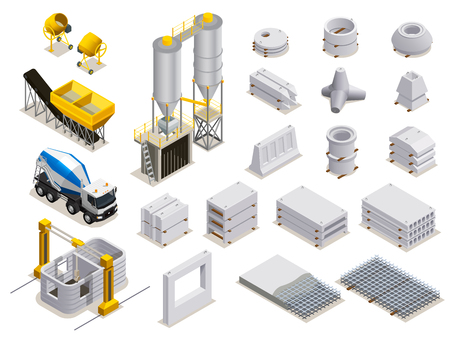 Concrete production set of isometric icons with manufacturing equipment transport and finished stone details isolated vector illustration