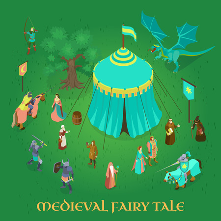 Medieval fairy tale with royal couple princess knights and dragon on green background isometric vector illustration