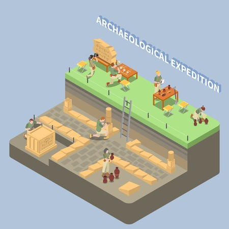 Archeology isometric composition with ancient remains and expedition symbols vector illustration Illustration