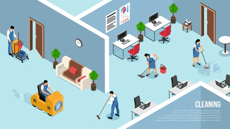 Poster pubblicitario isometrico per il servizio di pulizia degli interni degli edifici industriali e commerciali con illustrazione vettoriale della squadra di lavaggio a pressione dei pavimenti
