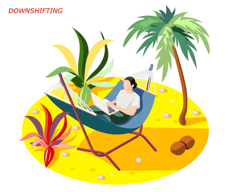Downshifting stress escaping people isometric composition with woman relaxing while working on beach under palm vector illustration