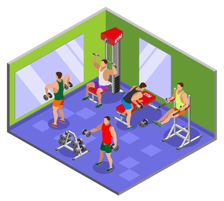 Athletes during body building training with sport equipment in gym with mirrors isometric composition vector illustration Illustration