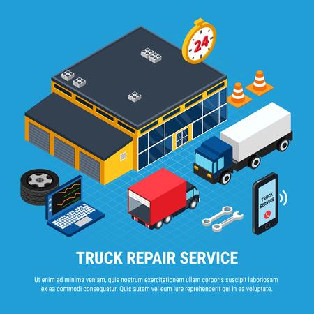 Truck repair service isometric concept with diagnostics symbols vector illustration Banque d'images - 111268072