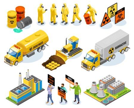 Icônes isométriques de déchets toxiques avec centrale nucléaire matières infectieuses biologiques transport élimination militants environnementaux illustration vectorielle Vecteurs