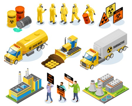 Toxic waste isometric icons with nuclear power plant biological infectious materials transportation disposal environmental activists vector illustration Stock Vector - 111268080