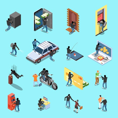 Thief during atm robbery car stealing internet fraud isometric icons on blue background isolated vector illustration