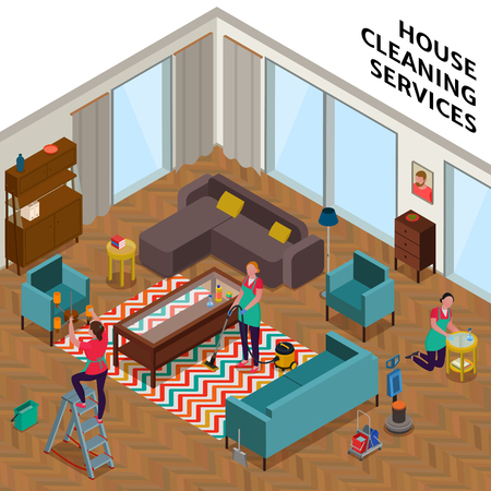Home cleaning services composition with women workers during tidying up of apartment isometric vector illustration