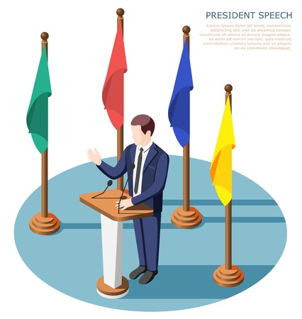 President near tribunes with microphones during public speech surrounded by colorful flags isometric composition vector illustration