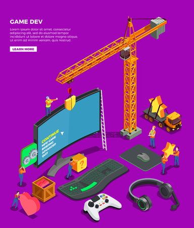 Game development isometric composition with big screen keyboard joystick for video game headphones and crane as symbol of game industry vector illustration