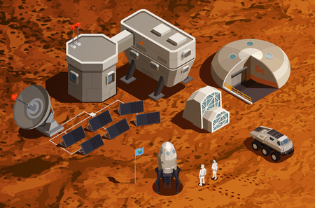 Mars colonization isometric background with equipment for scientific research and communications space ship and astronauts vector illustration Illusztráció