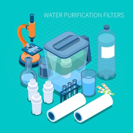 Filtros para la purificación de agua en el hogar y la composición isométrica del equipo de laboratorio de prueba en la ilustración de vector de fondo turquesa