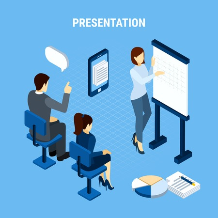 Business people isometric background conceptual composition with infographic pictogram icons thought bubbles and office team members vector illustration