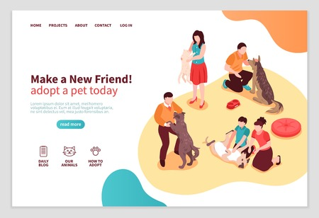 Animal shelter isometric web page with human characters during communication with dogs and cats vector illustration Illustration