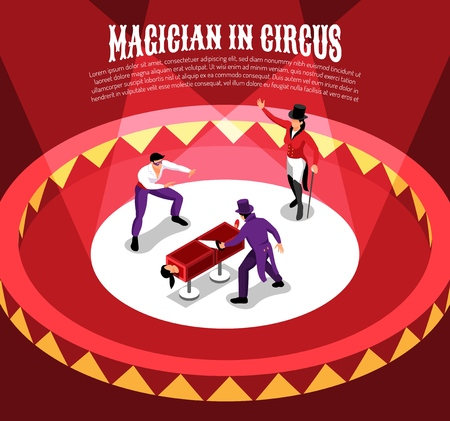 Isometric circus composition with entertainer characters performing conjuring tricks on circle arena with editable text vector illustration  イラスト・ベクター素材