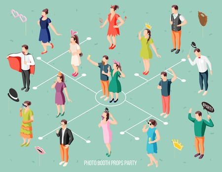 Photo booth party guests in costumes holding props isometric flowchart with masks hats speech bubbles vector illustration Illustration