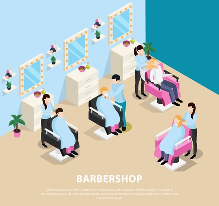 Barber shop isometric composition with customers sitting in chairs and masters during hair work vector illustration Standard-Bild - 111268120