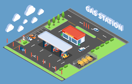 Clients at gas station with store isometric composition on blue background vector illustration