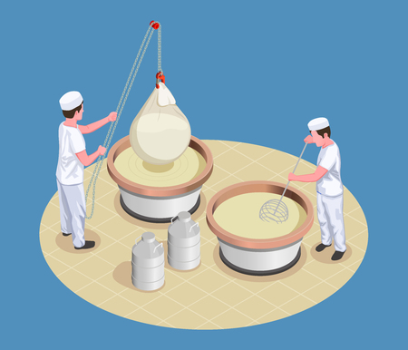 Cheese making isometric poster with two  manufacture workers kneading and checking fermentation process vector illustration