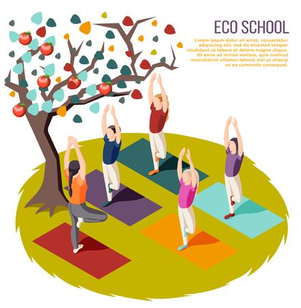 Alternatives Lernen isometrische Komposition Öko-Schule mit Yoga-Kursen an der Vektorillustration im Freien