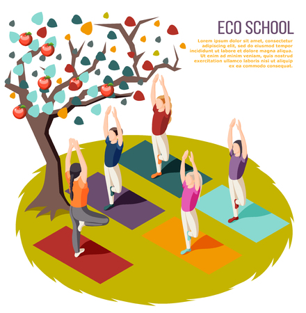 Alternative learning isometric composition eco school with yoga classes at outdoor vector illustration Illustration