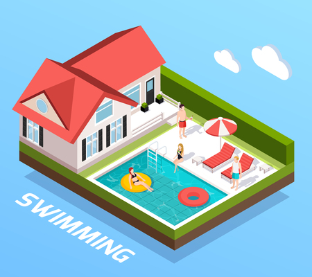 Swimming pool isometric concept with people resting by the pool vector illustration Illustration