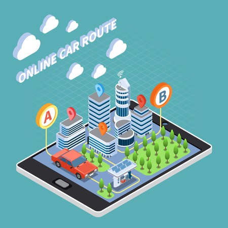 Carsharing isometric composition with online car route symbols  vector illustration Illustration