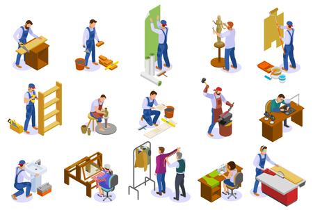 Handwerker isometrische Symbole mit Handwebstuhl Tischler Bildhauer Schneider Töpfer bei der Arbeit isoliert Vektor-Illustration gesetzt Vektorgrafik