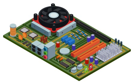 System plate for pc isometric vector illustration with semiconductor elements slots microchips capacitors diodes transistors 일러스트