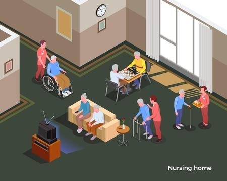 Affiche isométrique de la maison de soins infirmiers illustrée à l'intérieur de la salle commune avec table de télévision canapé pour les jeux et les habitants de l'illustration vectorielle de l'installation sociale
