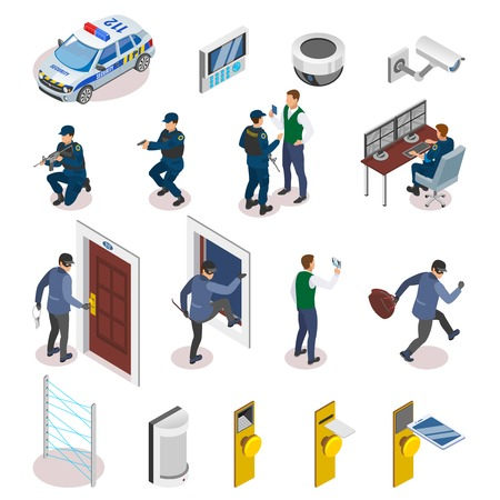 Security systems isometric icons set with laser motion sensors surveillance camera operator officers in action vector illustration Illustration