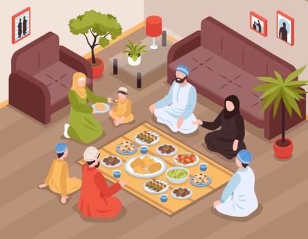 Comida familiar árabe con comida y bebidas tradicionales, ilustración vectorial isométrica