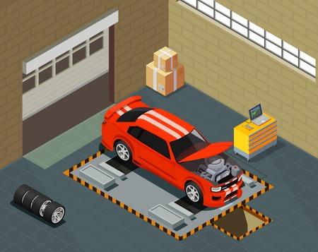 Autotuning isometrische Komposition mit Automobil auf Aufzug in Autoreparaturservice-Innenraumvektorillustration