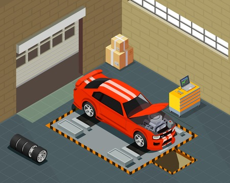 Car tuning isometric composition with automobile on lift in auto repair service interior vector illustration