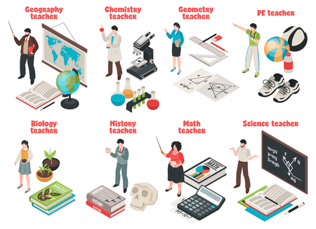 Teachers and school set with Biology and Geography symbols isolated isometric vector illustration Illustration