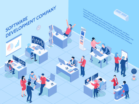 Programmers of software development company during work in office isometric horizontal vector illustration