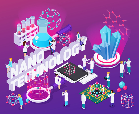 Nanotechnology isometric abstract composition with micro chips 3d fullerene structure mono crystalline carbon nanotubes icons vector illustration
