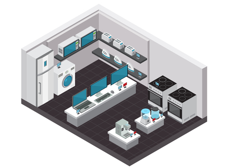 Consumer electronics store interior isometric background with small and large household appliances vector illustration Stock Illustratie