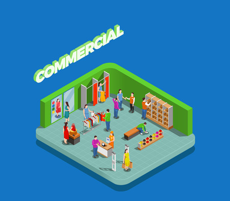 Commercial consumers during shopping in store of clothing and shoes isometric composition on blue background vector illustration Illustration