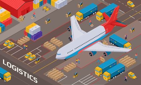 Airplane during logistic delivery on background of warehouse with staff vehicles and packages isometric vector illustration