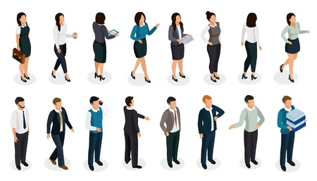 Office people in business clothing in various posture with accessories isometric set isolated vector illustration