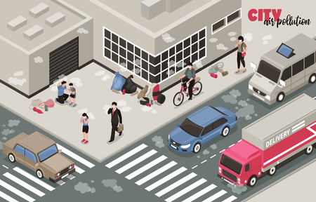 Air pollution background with city problems symbols isometric vector illustration  イラスト・ベクター素材