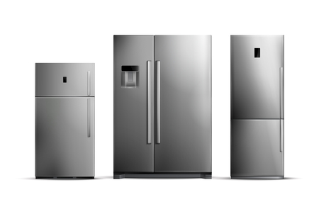 Set of realistic silver fridges of various size isolated on white background vector illustration Vettoriali