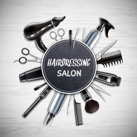 Hairdressing salon barber shop tools realistic round composition with scissors hairdryer trimmer monochrome wooden background vector illustration