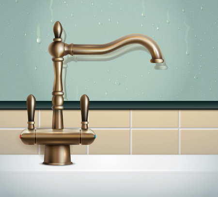 Faucet realistic composition with view of bathing room wall and vintage classic style bronze faucet image vector illustration