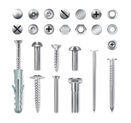 Set realistische metalen bevestigingsartikelen schroeven bouten moeren nagels geïsoleerd op een witte achtergrond vectorillustratie Vector Illustratie