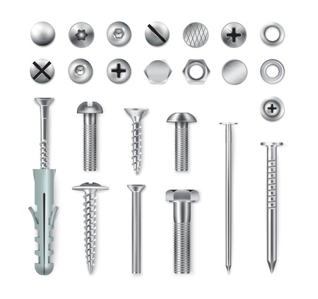 Set von realistischen Metallbefestigungselementen Schrauben Schrauben Muttern Nägel isoliert auf weißem Hintergrund Vektor-Illustration Vektorgrafik