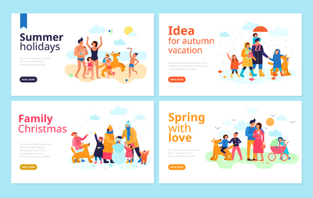 Spending family vacation season holidays free time together ideas 4 flat banners web page design vector illustration 일러스트