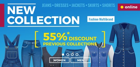 Denim clothing for men and women web banner with menu template and advertising blue background vector illustration