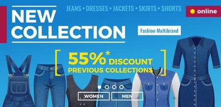 Vêtements en jean pour hommes et femmes bannière web avec modèle de menu et illustration vectorielle de fond bleu publicitaire